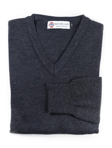 Pull col V PETIT HELICE anthracite - 50% laine coupe ajustée