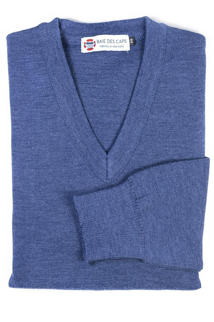Pull col V HELICE jean - 50% laine coupe confort