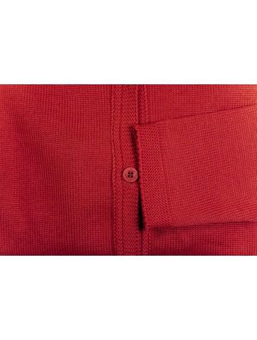 Gilet col rond BORNEO rouge - 50% laine coupe droite, poches plaquées.