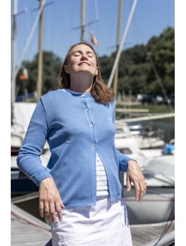 Gilet col rond MAELIS bleu jean - 50% coton coupe ajustée