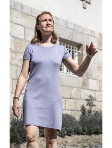 ROBE MANCHES COURTES col rond gris perle - 50% coton coupe confort