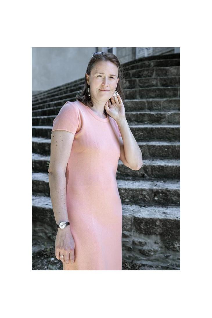 ROBE MANCHES COURTES col rond rose saumon - 50% coton coupe confort