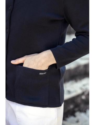 gilet col rond BERNIC marine - 50% laine coupe droite, poches plaquées.