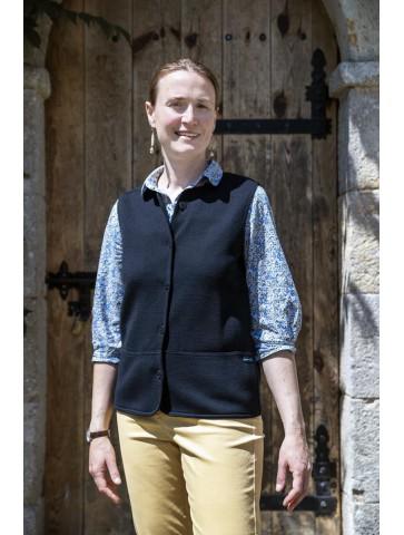 gilet sans manche col rond bleu marine - 50% laine coupe droite, poches plaquées.