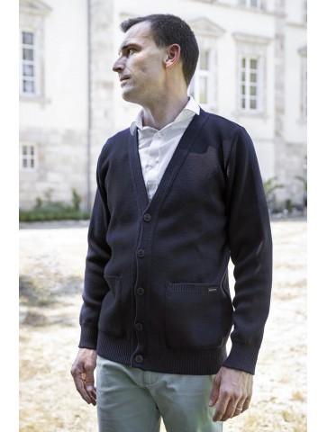 gilet col V bleu marine - 100% laine coupe droite, poches plaquées.