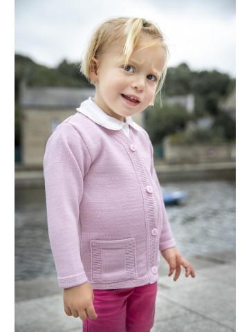 gilet BORNEO rose pâle - 50% laine coupe droite, poches plaquées.