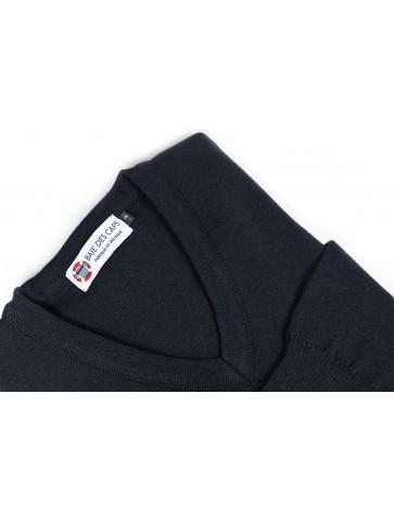 Pull col V PETIT HELICE marine - 50% laine coupe ajustée