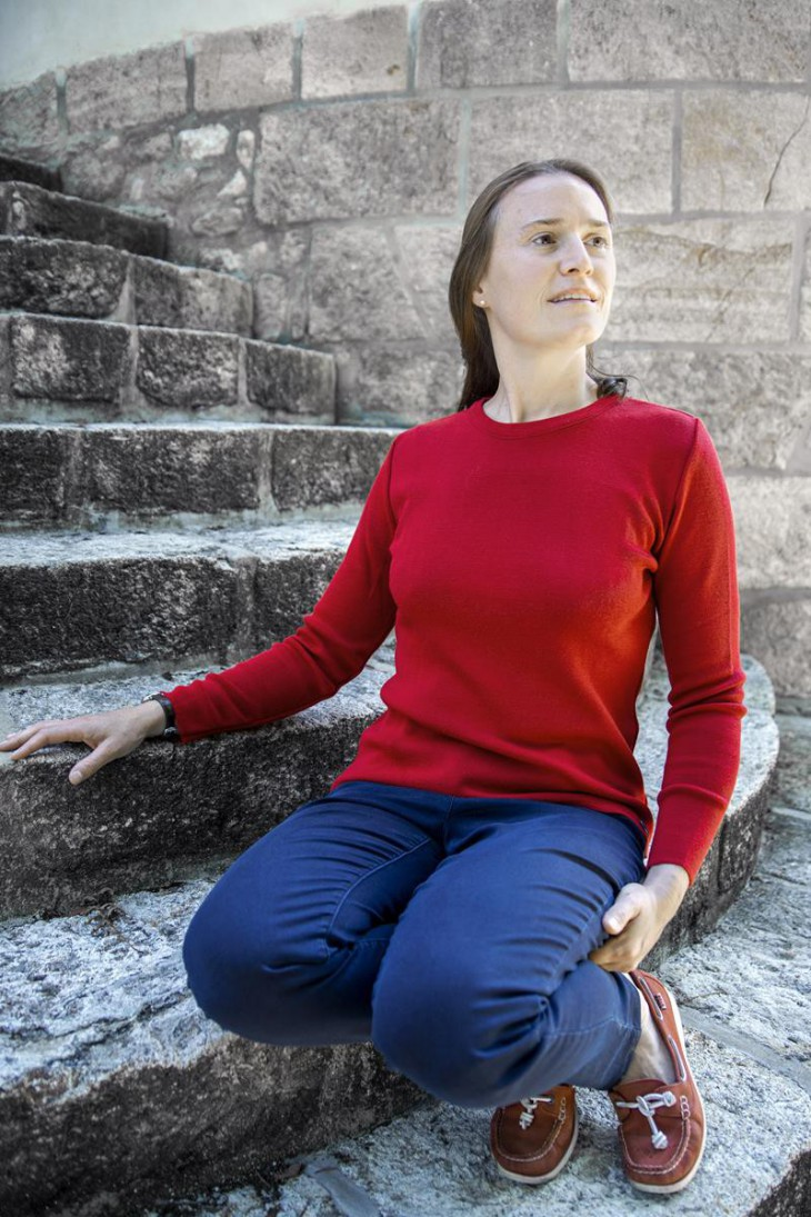 Pull col rond CARAIBE rouge - 50% laine coupe confort