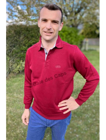 ELEZ - Sweat col polo ROUGE