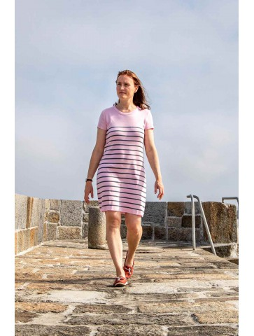 ROBE MANCHES COURTES col rond rose et anthracite - 50% coton coupe confort