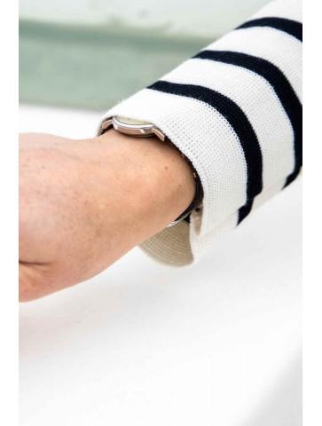 Veste zippée MARINA écru marine - 50% laine coupe ajustée, avec deux poches.