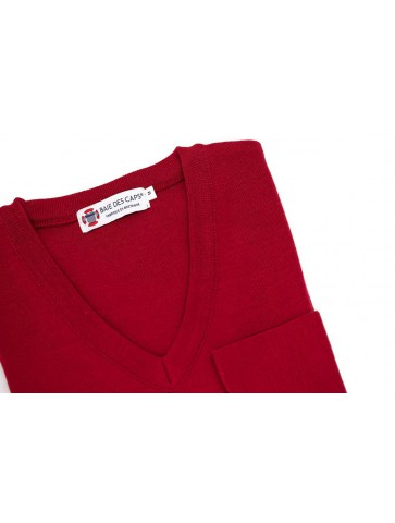 Pull col V CARAIBE rouge - 50% laine coupe confort