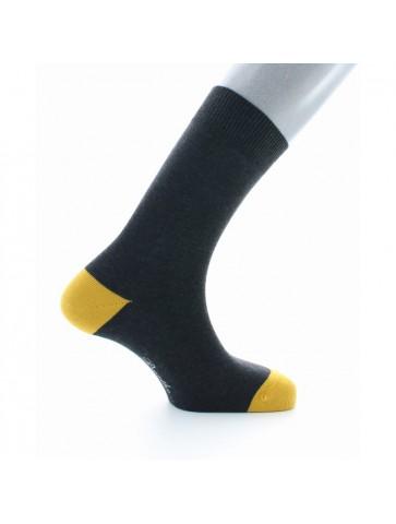 Chaussettes en coton d'Egypte anthracite pointes et talons jaunes