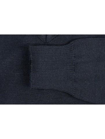 Pull col V PETIT HELICE bleu marine - 50% coton