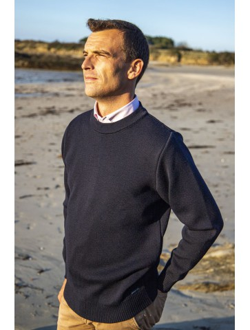 Pull col rond FAOUET bleu marine - 50% laine coupe confort