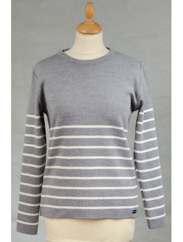 Pull col rond ALIZEE gris / écru - 50% laine coupe ajustée