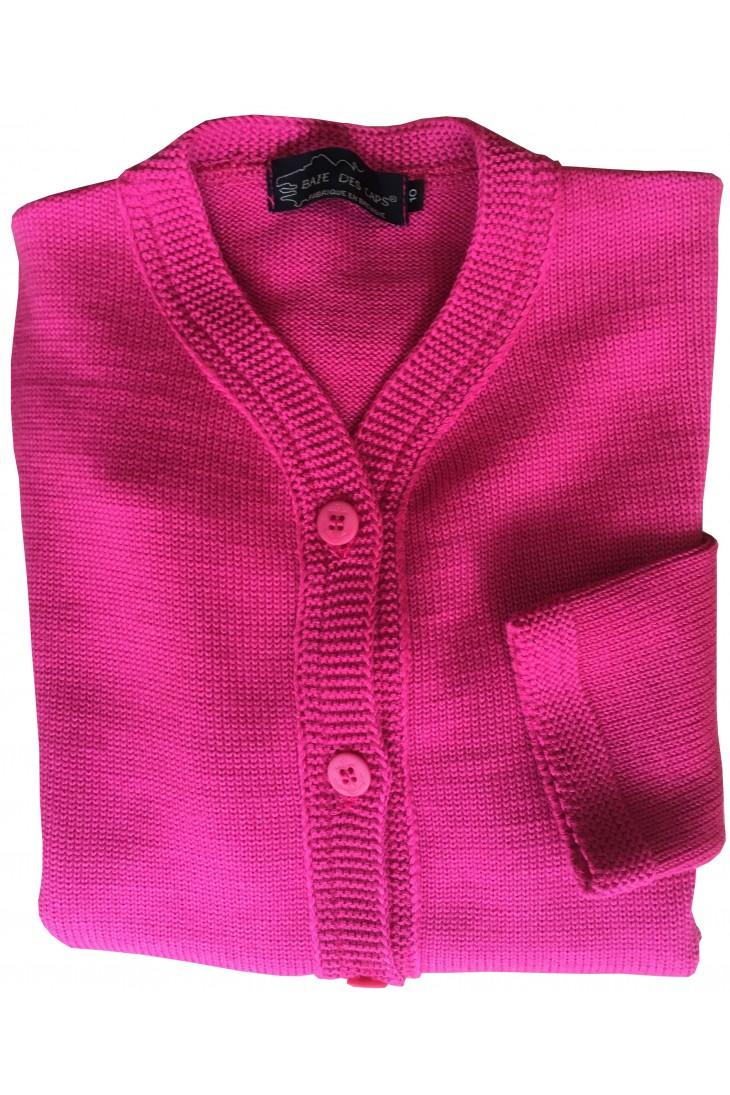 gilet BORNEO fushia - 50% laine coupe droite, poches plaquées.
