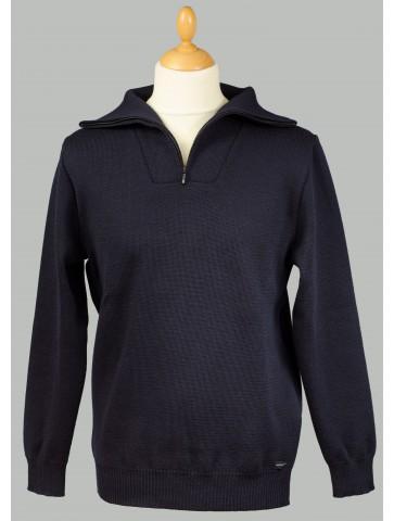Pull homme col CAMIONNEUR bleu marine en pure laine - coupe confort