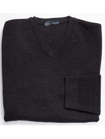 Pull col V RICHELIEU gris anthracite - 50% laine coupe confort