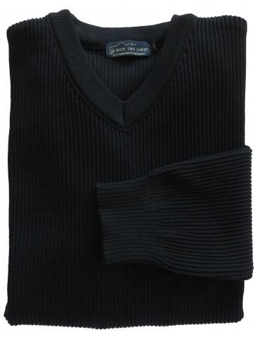 Pull col V RICHELIEU bleu marine - 50% laine coupe confort