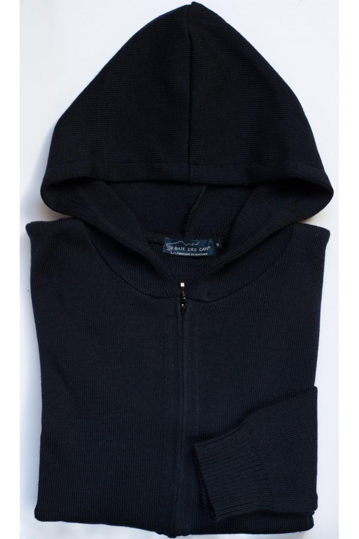 gilet à capuche uni GWENN bleu marine - 50% laine coupe confort