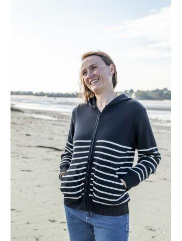 gilet à capuche rayé GWENN bleu marine / écru - 50% laine coupe confort