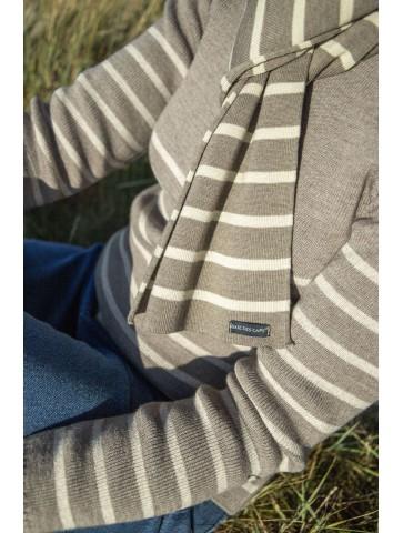 Pull Marin rayé LOCTUDY taupe beige - 50% laine coupe ajustée